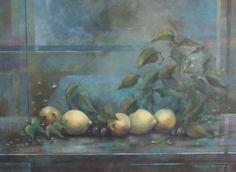 Limones sobre azul Óleo sobre tabla  Àngeles Garrido  #arte #sevilla #realesalzazares #visitas #artistas #obrasdearte #pintura #color #oleo #acuarela #pastel #tecnicamixta #impresionismo #realismo #tecnicalibre #paisaje #retrato #natualezamuerta # bodegón