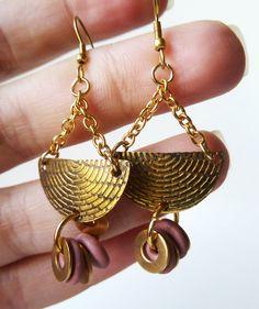new OOAK brass earrings #jewelry #handmade #amerrymishap #etsy #ammjewelry