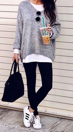 #fall #outfits women's gray sweater and pair of black leggings. Click To Shop This Look.