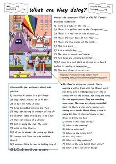 Some exercises with 'There is/there are' and the present continuous tense. There is also a short RC with some questions. The picture is also suitable for past tense practice. - ESL worksheets