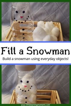 Fill a snowman is a fun winter activity that will help your toddler practice the. - Fill a snowman is a fun winter activity that will help your toddler practice their fine motor skill - Winter Activities For Toddlers, Fine Motor Activities For Kids, Motor Skills Activities, Winter Crafts For Kids, Winter Kids, Christmas Activities, Infant Activities, Fine Motor Activity, Winter Theme