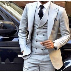 Latest Light Grey Men Suit Double Breasted Slim Fit Skinny 3 Piece Tuxedo