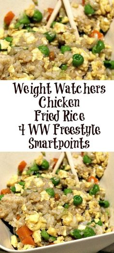 WW AKA Weight Watchers Chicken Fried Rice is a great dinner and one that my kids love to eat!! Be sure to check out this easy to create protein heavy meal! #ww #smartpoints