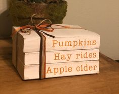 Stamped Books - Halloween Decor - Halloween Stamped Books - Trick Or Treat Halloween Books, Fall Halloween, Halloween Crafts, Holiday Crafts, Halloween Decorations, Fall Decorations, Fall Wood Crafts, Old Book Crafts, Fall Projects