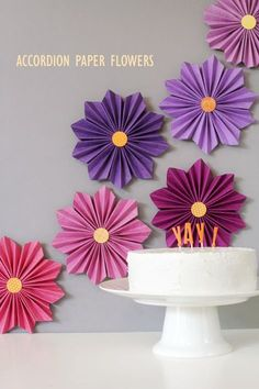 """Accordion paper flowers-- could have pinned in """"Paper Crafts"""", but think these would be perfect for party decor"""