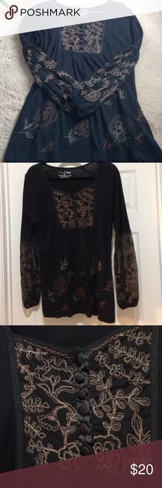 Beautiful black boho tunic Lovely and delicate black tunic.  Pretty embroidery and satin covered buttons adorn the top.  Sheer netting and embroidery embellish the long sleeves.  Loose, elegant and comfortable. No flaws, like new. RXB Tops Tunics