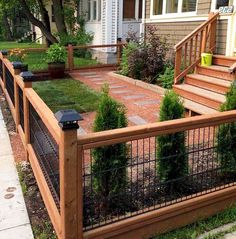 Small Garden Fence, Small Front Yard Landscaping, Patio Fence, Backyard Fences, Modern Landscaping, Backyard Landscaping, Landscaping Ideas, Front Yard Fence Ideas Curb Appeal, Backyard Projects
