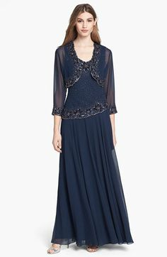 J Kara Embellished Chiffon Dress & Bolero (Regular & Petite) available at #Nordstrom mother of the bride dress maybe.