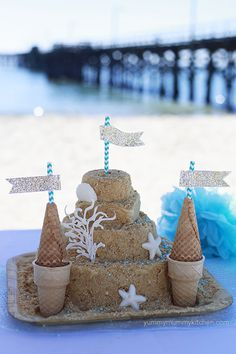 Ocean Themed Birthday Party Ideas by Yummy Mummy Kitchen. Healthy and Delicious Recipes the Whole Family will Love Comida Baby Shower, Sand Castle Cakes, Ocean Cakes, Birthday Party Themes, Birthday Ideas, Birthday Cakes, Luau Birthday, Happy Birthday, Cupcake Party