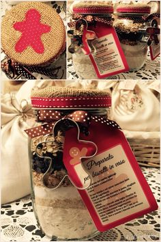 Biscotti in barattolo - idea originale regalo - Home Made Rossella&Co. Diy Christmas Cards, Christmas Presents, Holiday Crafts, Christmas Cookies, Christmas Decorations, Xmas, Cake Design Inspiration, Biscotti, Jar Gifts
