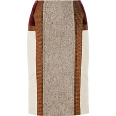 Etro Paneled wool-blend pencil skirt (€600) ❤ liked on Polyvore featuring skirts, юбки, bottoms, taupe, knee length skirts, multicolor skirt, taupe skirt, brown skirt and etro