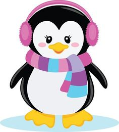 Ppbn Designs Pixel Paper Prints Girl Penguin With Scarf 0 50 - zima Penguin Birthday, Penguin Party, Penguin Craft, Christmas Drawing, Christmas Art, Penguin Clipart, Baby Penguins, Winter Kids, Christmas Clipart