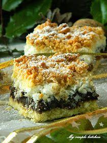 My simple kitchen: Kokomakowiec - kruche ciasto z makiem i kokosem - Polish Recipes, My Recipes, Sweet Recipes, Cake Recipes, Dessert Recipes, Cooking Recipes, Polish Food, Sweet Desserts, No Bake Desserts