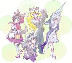 Team RWBY in animal costumes