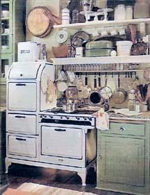 A period advertisement showing a gas range and typical cooking implement storage in the 1920s.
