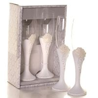 A Rose in Bloom Toasting Flutes - Detailed item view - www.weddingfavourswholesale.co.uk