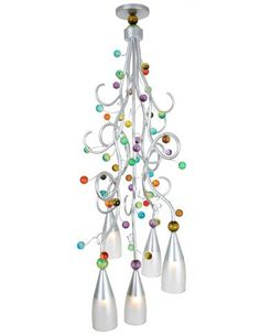 #HPmkt preview: Part of @VanTealLighting's Giardino Collection, the colorful Spring Fever lighting fixture adds sparkle and drama to any room with swirls of silver-finished metal and multi-colored acrylic spheres. IHFC H432. www.vanteal.com