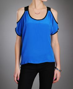 Skies are Blue Scuba Cold Shoulder Top!    www.southmoonunder.com