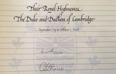 "Kelly Mathews on Twitter: ""Their Royal Highnesses signed the @GovHouseBC guest book prior to their departure today #RoyalVisitCanada"