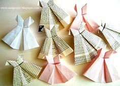 A Perfect Dress; i love this origami dress, it's easy to fold & too cute to not put on a invite. Cute Crafts, Crafts To Do, Easy Crafts, Crafts For Kids, Origami Dress, Origami Paper, Origami Vestidos, Paper Art, Paper Crafts