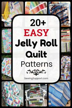Quilt Patterns for Jelly Roll Quilts. free and easy jelly roll quilt patterns, tutorials, and diy sewing projects easy enough for a beginner to sew. Designs include easy strip, square, and race quilts. Strip Quilt Patterns, Jelly Roll Quilt Patterns, Strip Quilts, Easy Quilts, Diy Sewing Projects, Sewing Projects For Beginners, Sewing Tips, Sewing Crafts, History Of Quilting