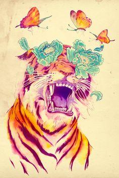 Tiger + Flowers + Butterflies