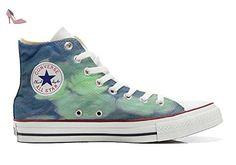 Converse Customized Chaussures Personnalisé et imprimés UNISEX (produit handmade) fleurs blanc - size EU32 - Chaussures mys (*Partner-Link)