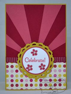 handmade card  from Scissors Paper Card ... like the sunburst card design done in deep pink and rose red ... Stampin' Up!