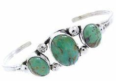 Navajo Jewelry Kingman Turquoise Silver Cuff Bracelet BW67412 SilverTribe. $89.99