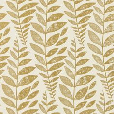 Designers Guild Odhni Wallpaper - Gold - P627/10 (€68) ❤ liked on Polyvore featuring home, home decor, wallpaper, metallic, gold pattern wallpaper, metallic wallpaper, leaf pattern wallpaper, designers guild wallpaper and gold leaf home decor