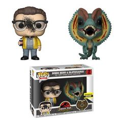 Get this unique POP! Movies: Jurassic Park Dennis Nedry & Dilophosaurus 2 Pack vinyl figure set for your Jurassic Park collection. It features Dennis with dino goo on his face and the Dilophosaurus dinosaur. Ouat, Pop Vinyl Collection, Dinosaur History, Jurassic Park Toys, Funko Pop Dolls, Funko Toys, Pop Disney, Pop Figurine, Funko Figures