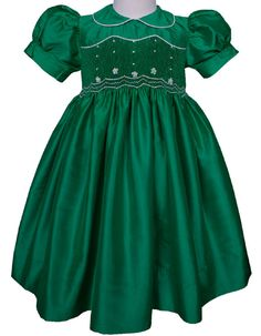Hand smocked girls silk dupioni pageant, flower girl dress or special occasion emerald green Mardi Gras dress 17252, 12 months up to 10 yrs. on Etsy, $122.00