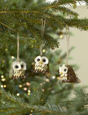 Owl Ornaments, Set of 3