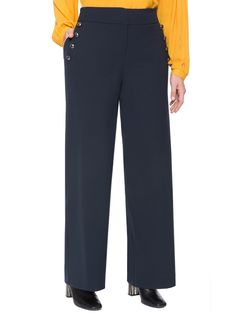 Button Detail Wide Leg Trouser | Women's Plus Size Pants + Jeans | ELOQUII