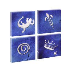 Top Bilder Kunstdruck auf Leinwand XXL Blau 1- 4Teiler je 40cm*40cm V0620389