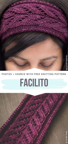 Knitting Terms, Knitting Stitches, Free Knitting, Cable Knitting Patterns, Loom Knitting, Knitting Needles, Knitted Headband Free Pattern, Knit Headband, Photo Pattern