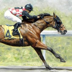Racehorses Dueling Print 6 x 12 by andreenharrisart on Etsy, $25.00