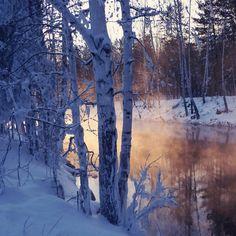 Winter River Among The Trees #iPad #Wallpaper