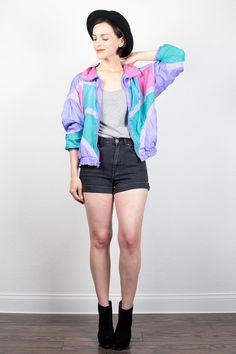 Vintage 80s Windbreaker Jacket 1980s Bomber Jacket Teal Pink Purple Color Block…