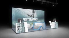 372 Taucherbrillen Waterscope | Spektakulärer Messestand für einen Hersteller von Taucherbrillen.   Das fotorealistische Unterwassermotiv auf der Rückwand mit vollflächiger Hinte...