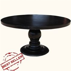 "72"" Black Round Dining Table Made In Solid Wood w Round Pedestal Base"