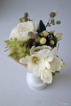 pretty white and green arrangement