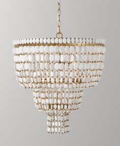 RH Baby & Child's Remi Large Pendant - White:Strands of alternating wood and metal beads are suspended from a sturdy metal frame in an arrangement that recalls the tiered silhouette of traditional Moroccan pendants. Home Goods Decor, Home Decor, Brown House, All Things Fabulous, Light Of The World, Flush Mount Lighting, 2020 Design, Living Room Lighting, Lauren Hunter