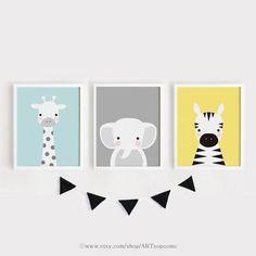 Baby animal prints for nursery Printable wall Art Set of 3 Poster Blue Gray Yellow Kids room decor G Nursery Prints, Nursery Wall Art, Yellow Kids Rooms, Kids Room Paint, Paintings For Kids Room, Baby Painting, Kids Room Design, Baby Art, Wall Art Sets