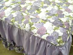 Vintage Twin Bedspread Purple Flowers Mums by TheVintagePorch
