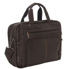 f1e455ed7e7 Kenneth Cole Reaction Brown Leather 16 Laptop Bag Brief Case Porfolio  524461 S   eBay