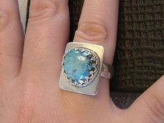 Large Utah Deposit Blue White and Black Turquoise, Fine Sterling Silver Size 7 3/4 Ring   121B