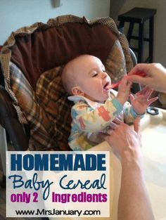Stop wasting your money on baby cereal from the grocery store when it's SO easy to make your own - only 2 ingredients for this recipe!