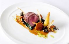 Roasted venison loin with snails, roasted chervil root and a field mushroom puree