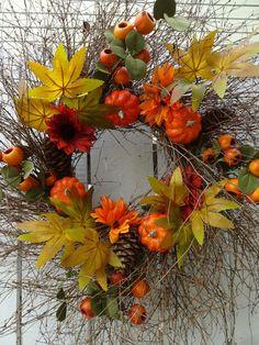 Thanksgiving Wreaths, Autumn Wreaths, Wreath Fall, Fall Door Decorations, Fall Decor, Twig Wreath, Floral Wreath, Indoor Wreath, Faux Pumpkins